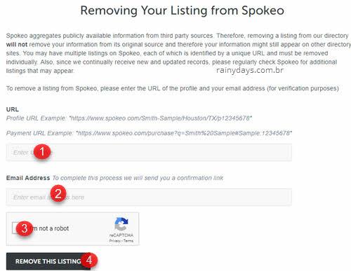 solicitar remoção de dados do Spokeo