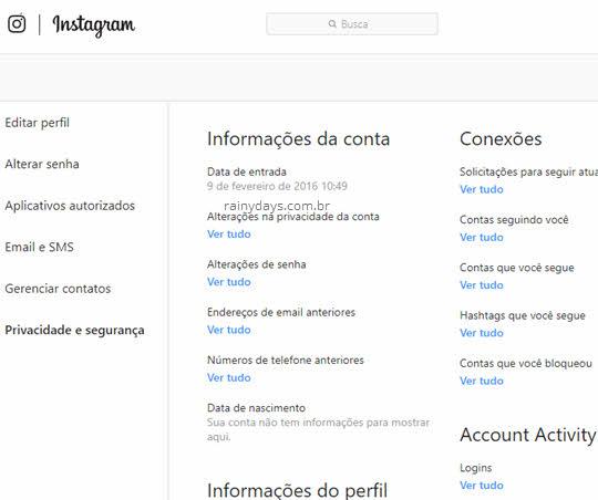 Ver dados da conta do Instagram inclusive quem está logado