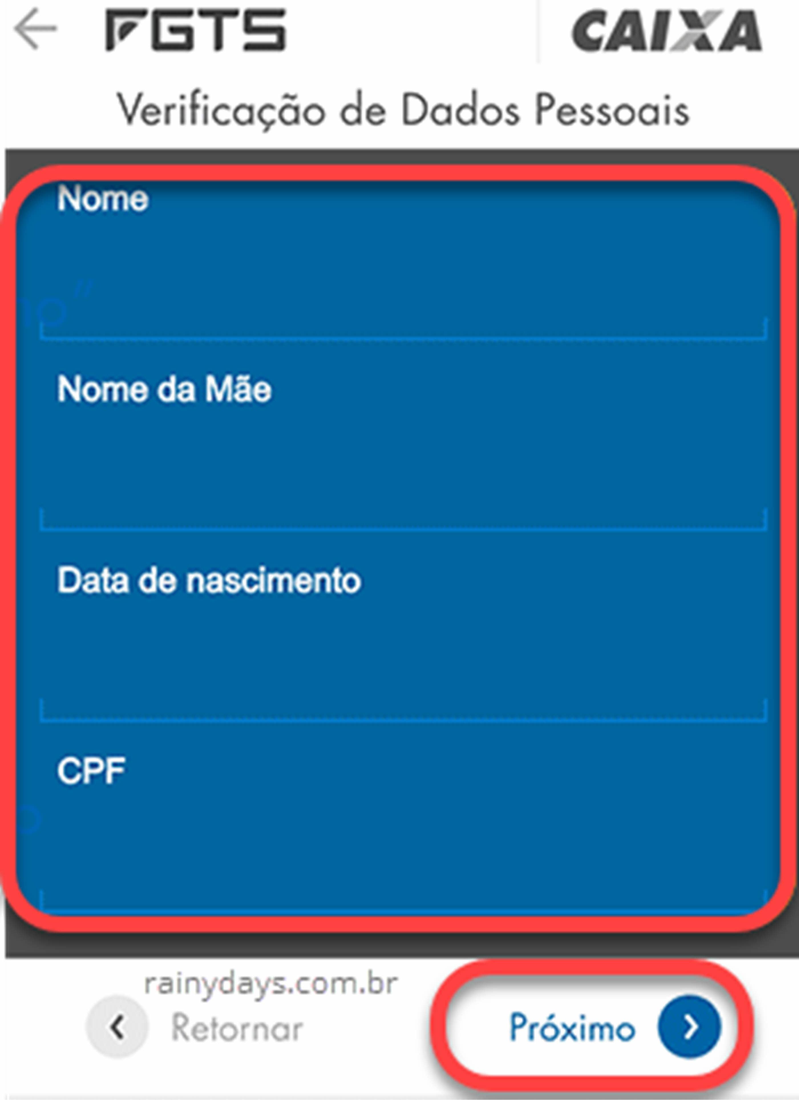 verificação de dados pessoais Caixa app FGTS