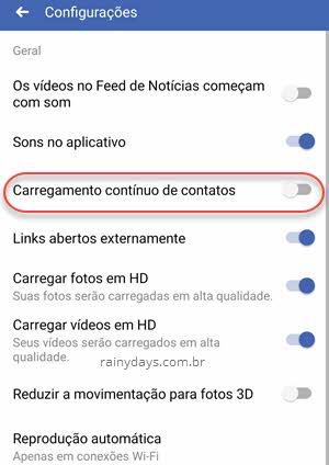 Carregamento contínuo de contatos Facebook app