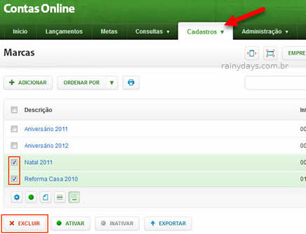Excluir lançamentos e serviços em lote Contas Online