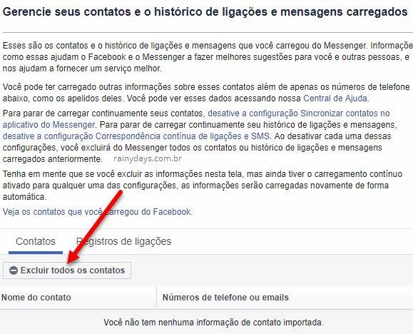 Excluir todos contatos carregador para o Facebook do Messenger