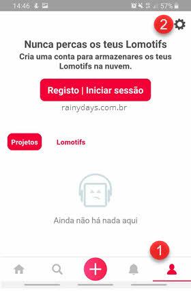 ícone perfil engrenagem Lomotif app