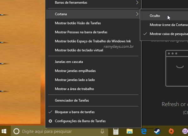 Ocultar campo de pesquisa Cortana barra de tarefas Windows