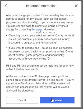 termos troca de nome ID PSN Sony