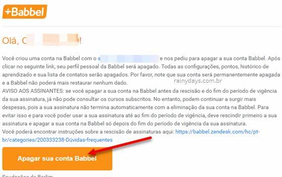 Apagar conta do site e app idioma Babbel