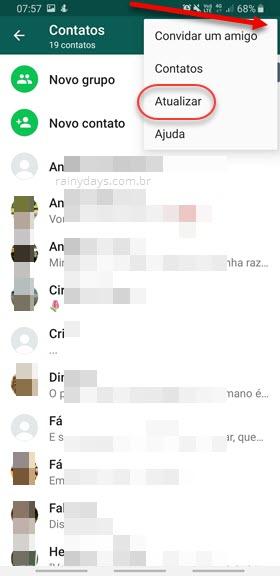 atualizar contatos no WhatsApp Android nomes sumiram