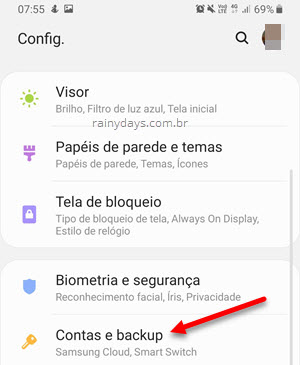 Configurações contas e backup Android