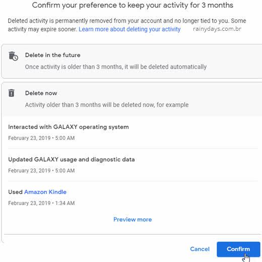confirmar preferências para apagar dados de atividade conta Google automaticamente