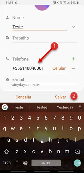 Digitar número de telefone nos contatos para verificar WhatsApp