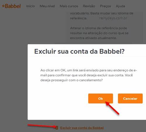 Excluir conta Babbel curso idioma