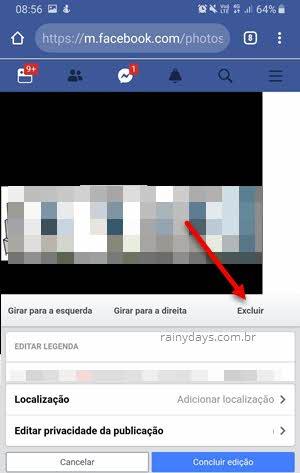 Excluir foto Facebook web celular