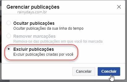 Excluir publicações criadas por você no Facebook