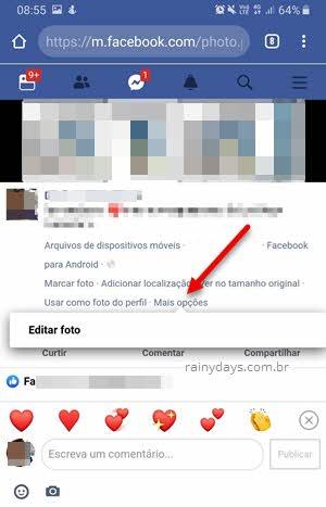 Mais opções foto Facebook web no celular