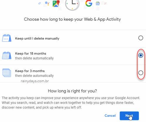 manter dados atividade web e apps Google por 18 ou 3 meses