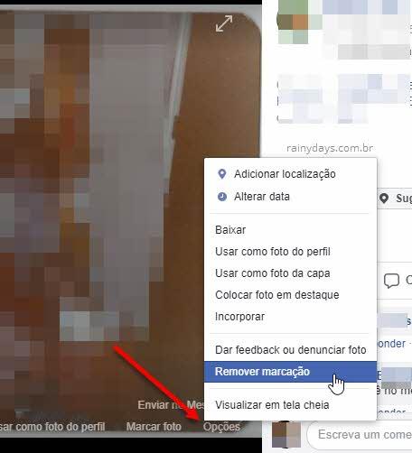 opções de foto Remover marcação Facebook