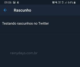 Página de rascunhos do Twitter app