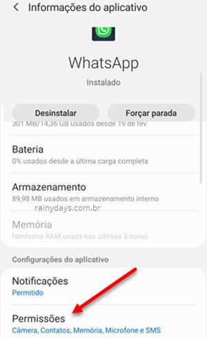Permissões WhatsApp Android