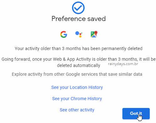Preferências salvas para dados do Google serem apagados automaticamente