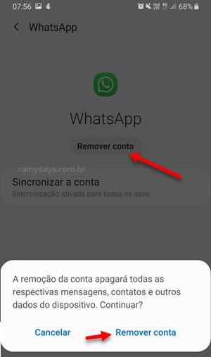 Remover conta WhatsApp sincronizada automatica Android