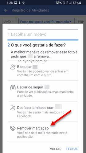 Remover marcação do Facebook pelo app