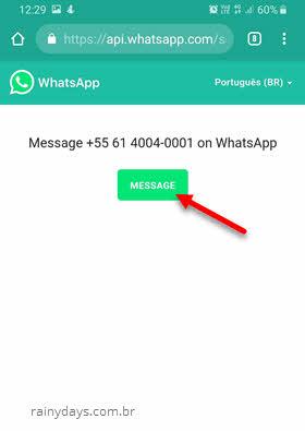 Usando Wa.me serviço WhatsApp para iniciar conversa sem adicionar contatos