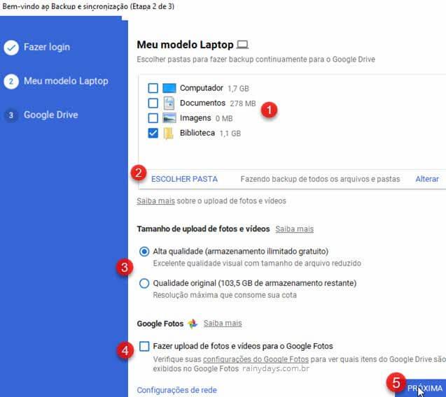 Backup e sincronização Google Drive no Windows