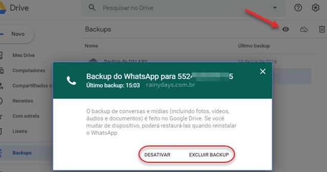 Desativar ou excluir backup do WhatsApp no Google Drive