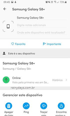Detalhes sobre dispositivo no app Fing Android