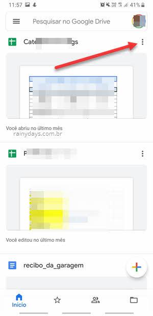 ícone de três pontinhos arquivo Google Drive app
