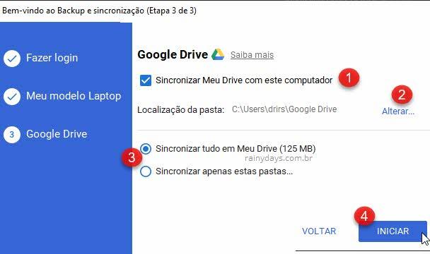 Sincronizar Meu Drive com este computador app Google Drive Windows