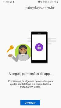A seguir permissões do App Seu Telefone para enviar SMS pelo PC
