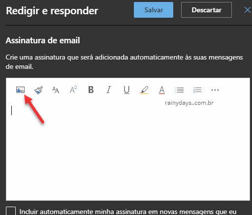 Adicionar foto Assinatura de email Outlook web