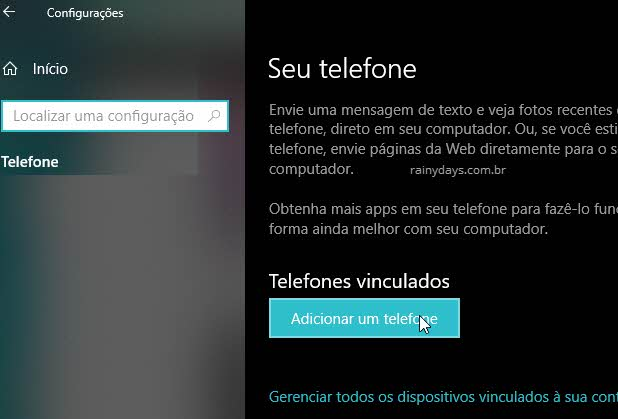 Adicionar um telefone no Windows