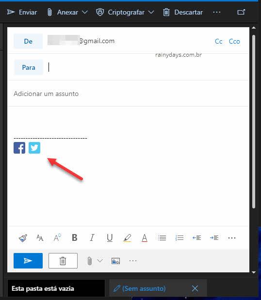 Assinatura com imagem no email do Outlook web