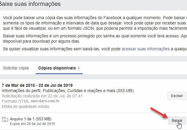 Baixar arquivos backup de dados do Facebook