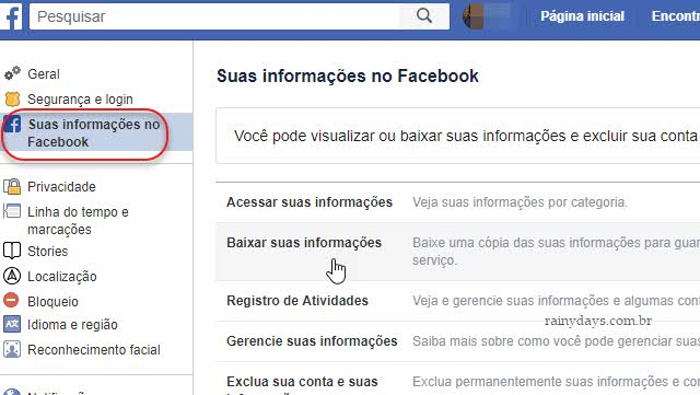 Baixar informações do Facebook fazer backup das suas contas