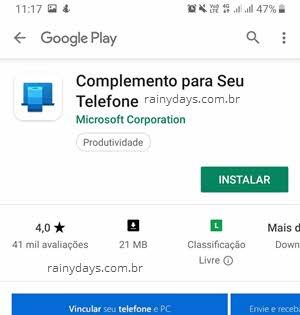 Complemtno para seu telefone app Google Play