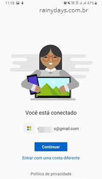 Conectando conta Microsoft no App Seu Telefon Android
