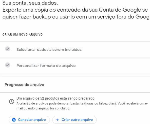 criação do arquivo de dados da conta Google backup