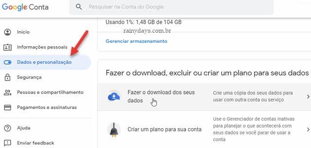 Dados e Personalização Conta Google fazer download dos dados