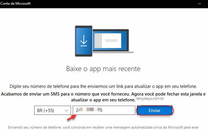 Digite celular para receber sms com link do app Seu Telefone Windows