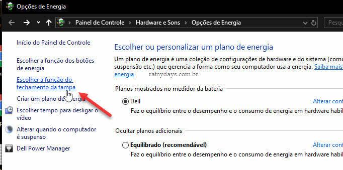 Escolher a função do fechamento da tampa notebook Windows