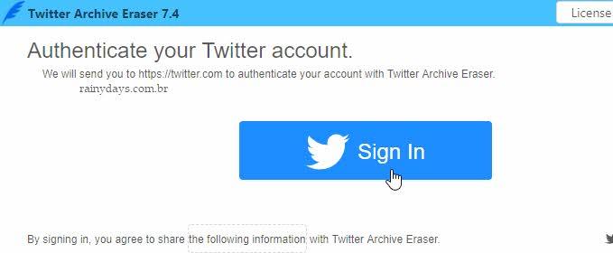 Fazer login no Twitter Archive Eraser