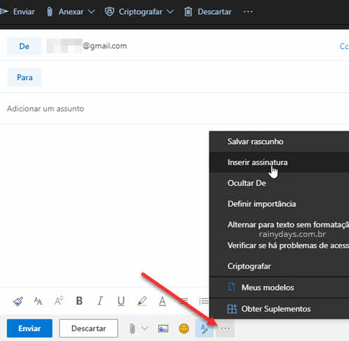INserir assinatura no email do Outlook web