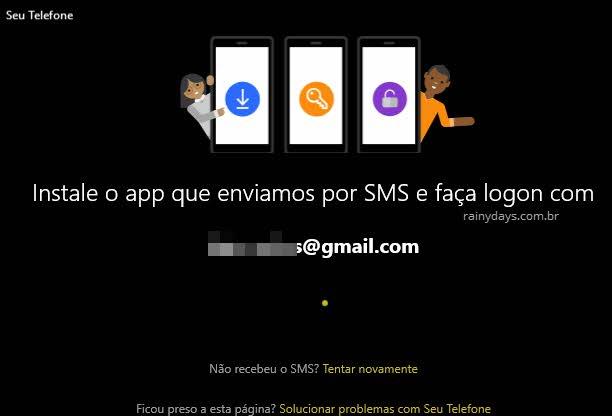 Instale o app que enviamos por SMS no celular