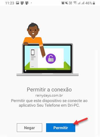 Permitir conexão do app Seu Telefone Android com PC para SMS