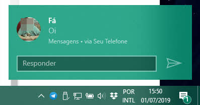 responder SMS na notificação do Windows PC