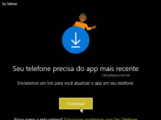 Seu telefone precisa do app recente Windows para enviar SMS pelo PC