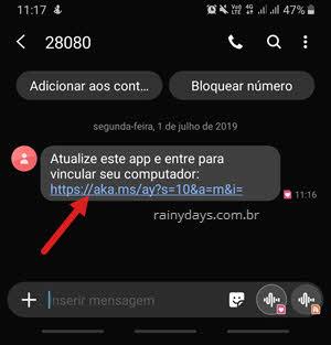 SMS com link instalação app Seu Telefone Microsoft celular